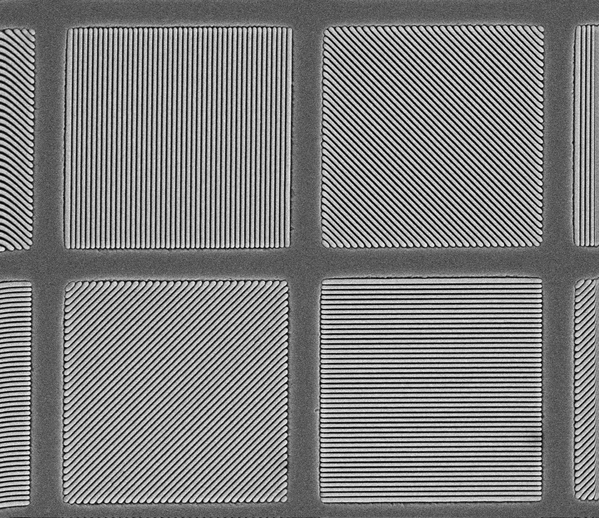 SEM image of a pixelated polarizer with typical 4-state array